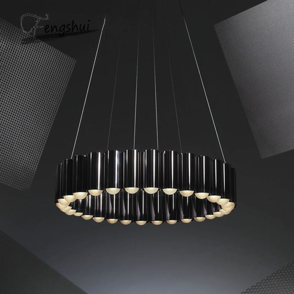 Modern Luxury LED Chandelier Round Water Pipe Art Personality Designer Villa Living Room Dining Room Lighting Interior Decor
