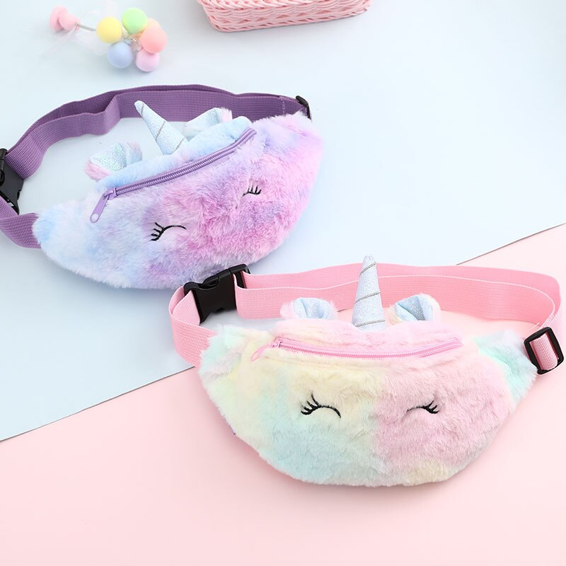 Plush Toys Unicorn Waist Bag Plush Toy Kids Fanny Pack Cartoon Plush Women Belt Bag Fashion Travel Phone Pouch Chest Bag Gift