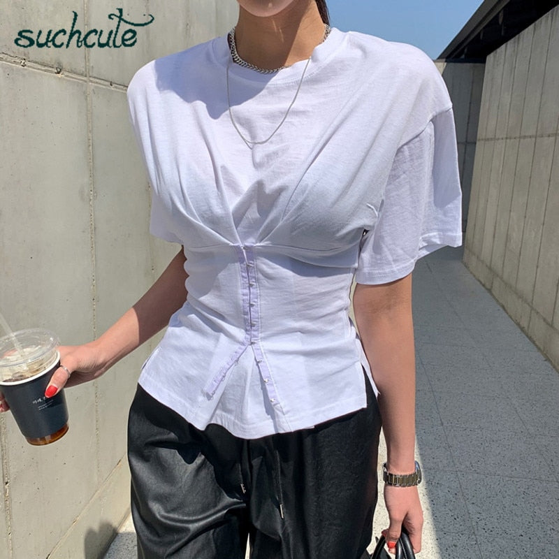 SUCHCUTE hollow women's blouses Corset white shirt summer tunic clothing tees gothic vintage top female womenswear habits femme
