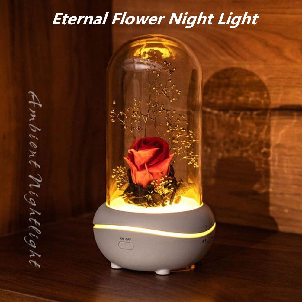 USB Rechargeable Eternal Flower Fragrance Night Light Mute Lava Lamp Mini Essential Oil Desk Lamp Holiday Gift Bedroom Décor