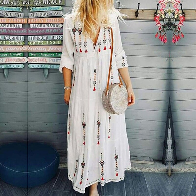 Maxi Dress 2020 Autumn Long Sleeve Long Woman Dresses for Women V neck Floral Print Bohemian Dress Sundress Female New Arrival