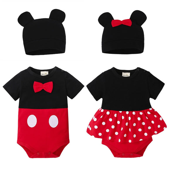 Cute Mickey Mouse Baby Girl Bodysuits Cotton Triangle Jumpsuit + Hat 2Pcs Outfit Clothes Set Newborn Clothes 0-24M Kids Clothes