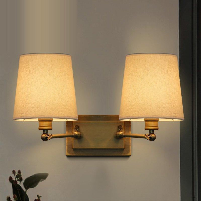 Chinese Classical Fabric LED Wall Lamp Modern Brass Copper Bedside Wall Light Living Room Dining Room Wall Sconce Light Fixtures