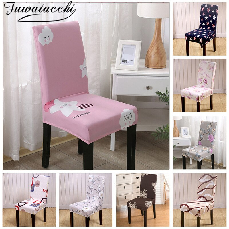Fuwatacchi Floral Chair Cover Spandex Seat Case for Dining Room Stretch Elastic Covers Pink Banquet Hotel Wedding Home Decor