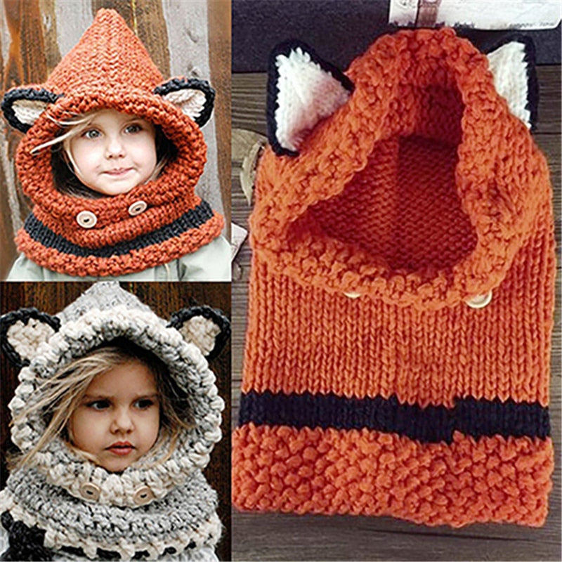Cute Fox Ears Pattern Knitted Warm Hat Soft Grey kids Infant Hooded Shawl Cap Winter Solid Color gorro bebe Baby children's Hat