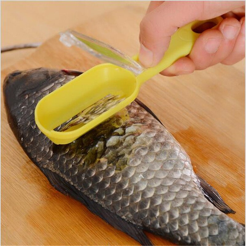 Fast Cleaning Fish Skin Peeler Plastic Fish Scale Remover Fish Scaler Scraper Cleaner Kitchenware Tool Peeler Random Color