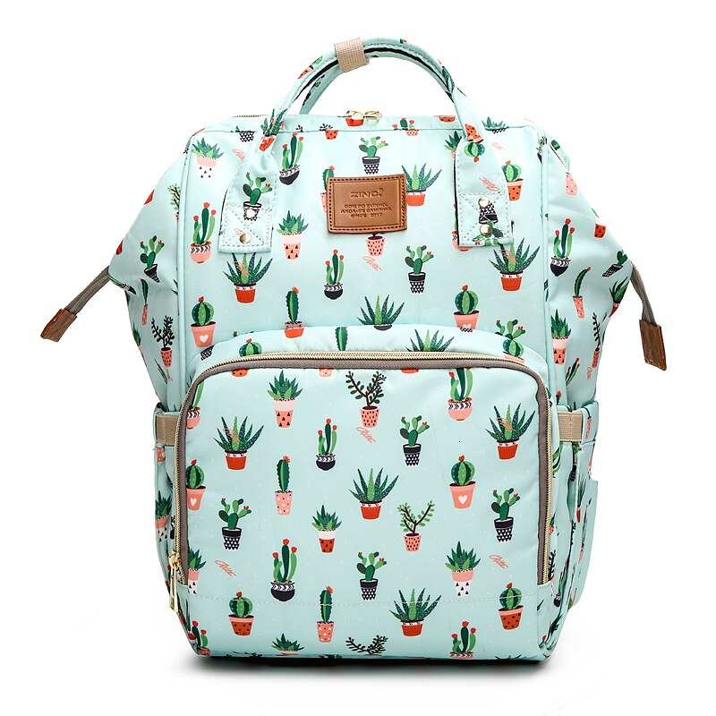 Cactus Printed Mummy Baby Bags Fox Printed Travel Backpack Large Cartoon Maternity Diaper Bags Nursing Mommy Bag For Baby Care