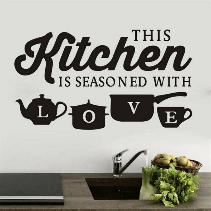Fashion Kitchen Pot Cup Love Printing Wall Stickers Art Dining Room Removable DIY Vinyl Decal Decor For Wall