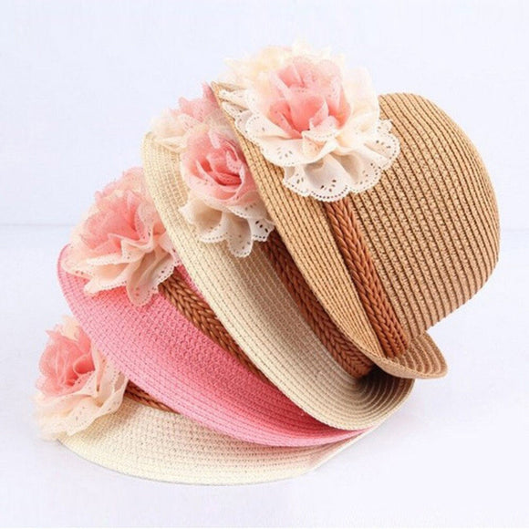 Baby Girls Children Kids Summer Flower Sun Adumbral Straw Hat Beach Cap Kids Gift 51 cm 5-12T