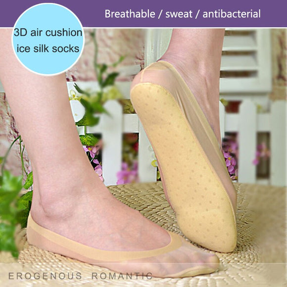 Arch Support 3D Socks Foot Massage Health Care Women Summer Autumn Female Socks Ice Silk Sock Shallow Mouth Silica Gel Invisible