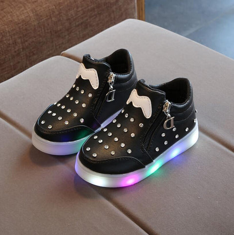 Pink HEART SPEAKER LED Light Shoes Casual Luminous Sneakers for Baby Kids Children size 22