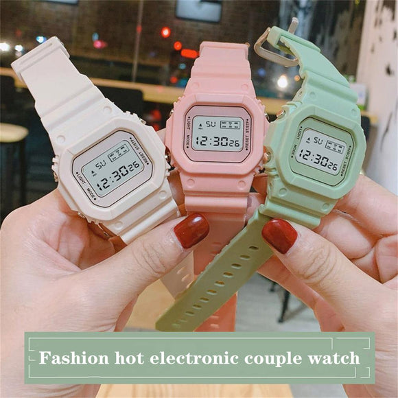Fashion luxury couple watch electronic silicone simple woman watchs multifunctional waterproof trend retro sports men wristwatch