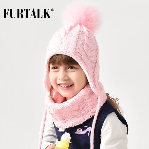 FURTALK Kids Winter Pompom Hat Scarf Set for Girls Boys Baby Knit Hat Soft Warm Pom Ears Hats Winter Child Cap 2-6 years old