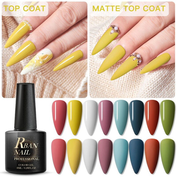 RBAN NAIL 8ml Solid Color Uv Gel Polish Semi Permanent Soak Off Long Lasting Hybrid Nail Art Gel Lacquer Matte Top Coat Needed