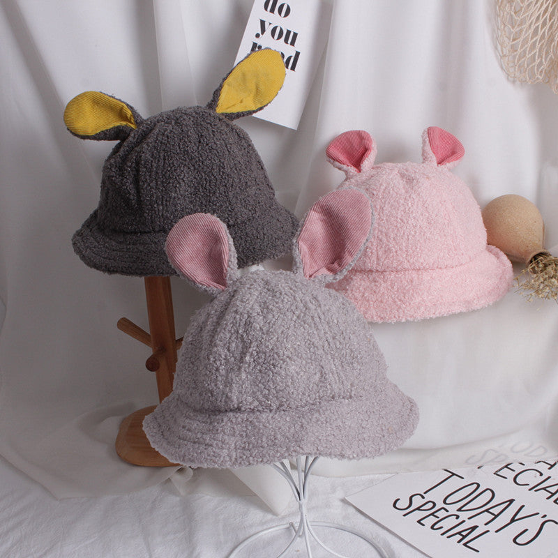 Cute Baby Girls Boys Hats Rabbit Ears Solid Warm Solid Fur Baby Autumn Winter Bucket Hat