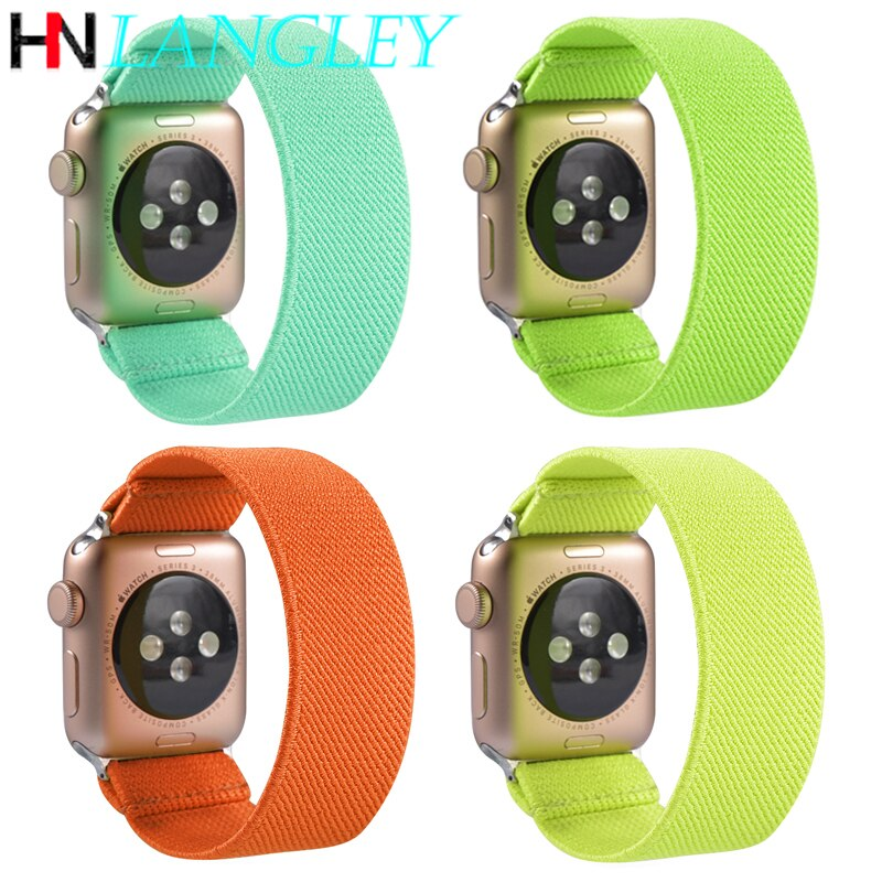 Scrunchie Hair Ring Band Elastic Nylon Strap for Apple Watch Band for IWatch Series 5 4 3 2 1 38mm 40mm 42mm 44mm Women Colorful