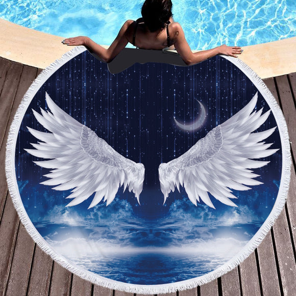 3D Angel Wings Printed Microfiber Round Beach Towel Bath Towels For Adults Kids Yoga Mat Tassels Blanket Home Decor