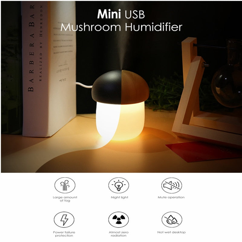 250ml Ultrasonic Air Humidifier Essential Oil Aromatherapy USB Humidifier Desk Personal Air Mushroom Diffuser with Night Light