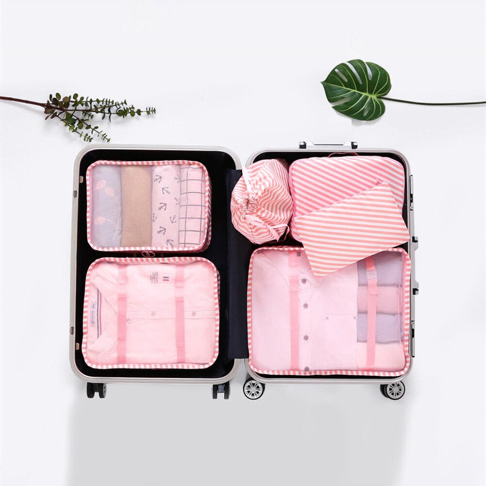 6pcs/set Travel Storage Bags Set For Clothes Tidy Organizer Wardrobe Suitcase Pouch Travel Organizer Bag Case Shoes Packing Bag