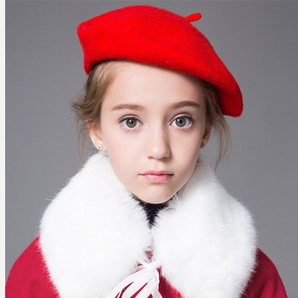 New Product  Children Hats Girl Beret Autumn And Winter Fund Woolen Princess Hat Baby Hats Wool Child Painter Hat
