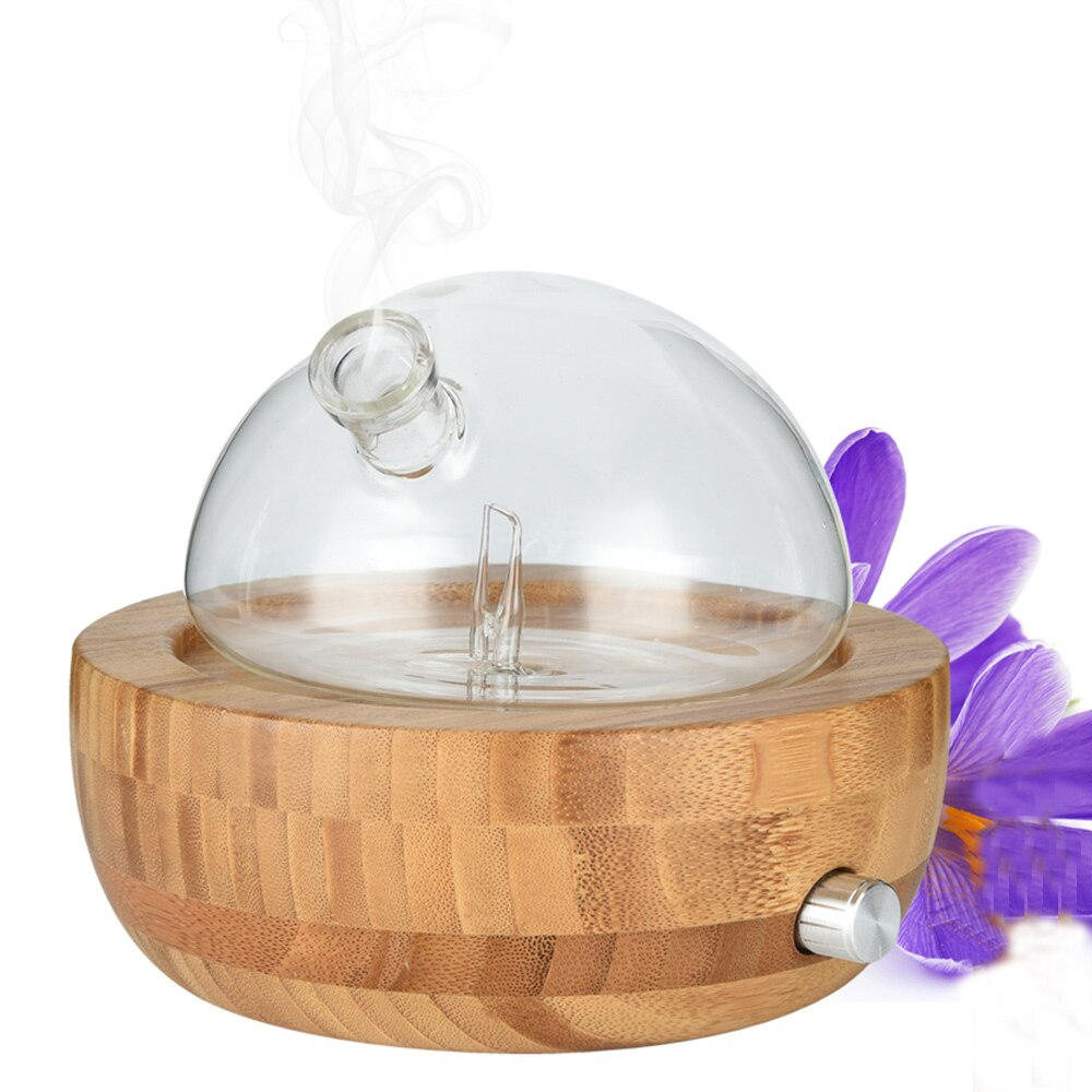 Bamboo Glass Essential Oil Nebulizer Aromatherapy Diffuser Humidifier Low Noise Mist Control TIMER Control Humidifiers 100-240V