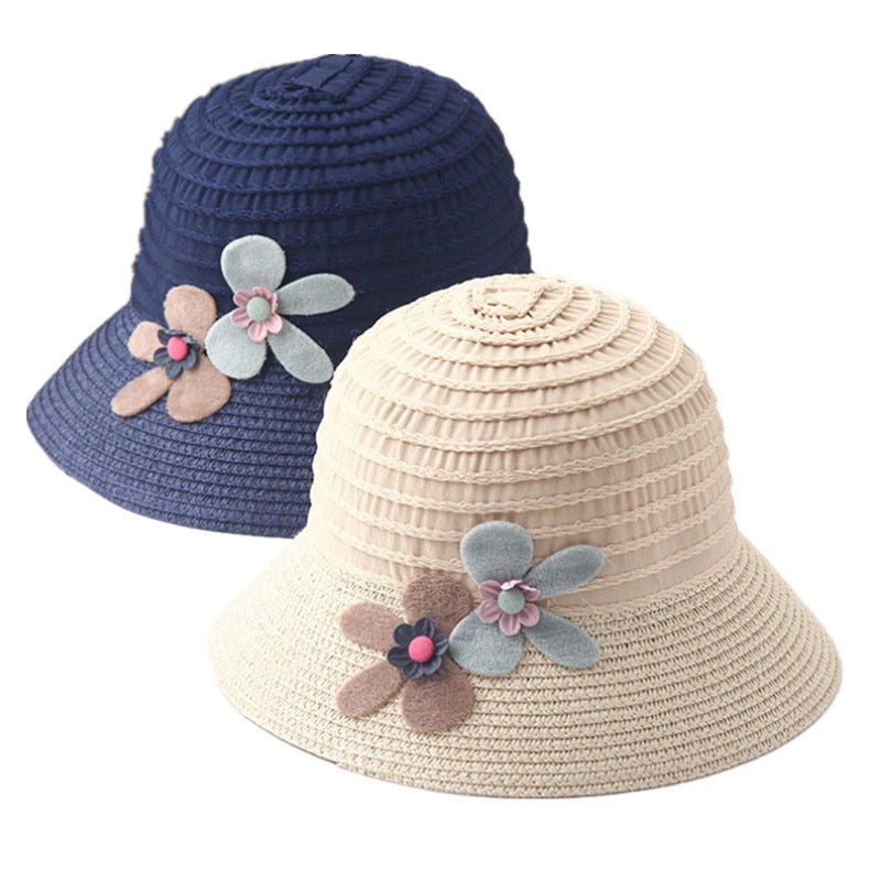 2019 New Summer Kids Floral Straw Hats Fedora Hat Children Visor Beach Sun Baby Girls Sunhat Wide Brim Floppy Panama For Girl