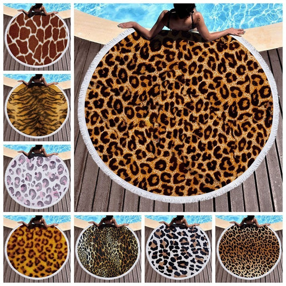 Leopard Tiger Pattern Printed Round Beach Towel With Tassels Microfiber 150cm Summer Swimming Picnic Mat Tapestry Travel Blanket
