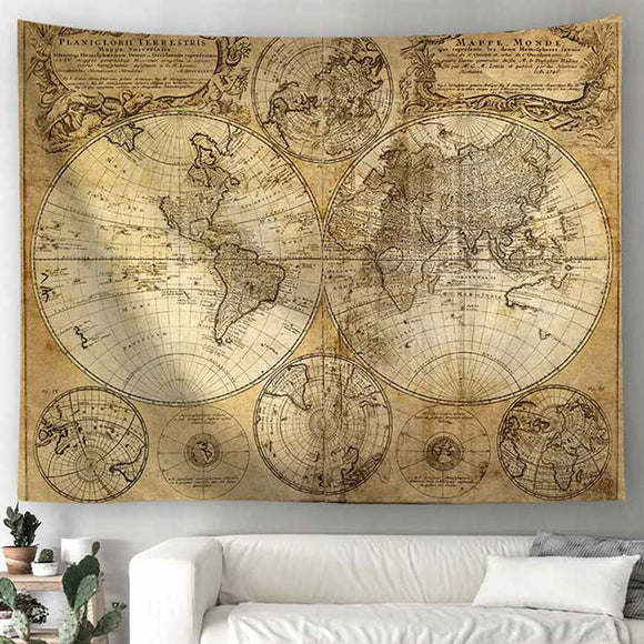 World Map Scenery Printed Polyester Wall Hanging Tapestry Room Decorative Tapestry Carpet Beach Towel Rectangle 180x230CM