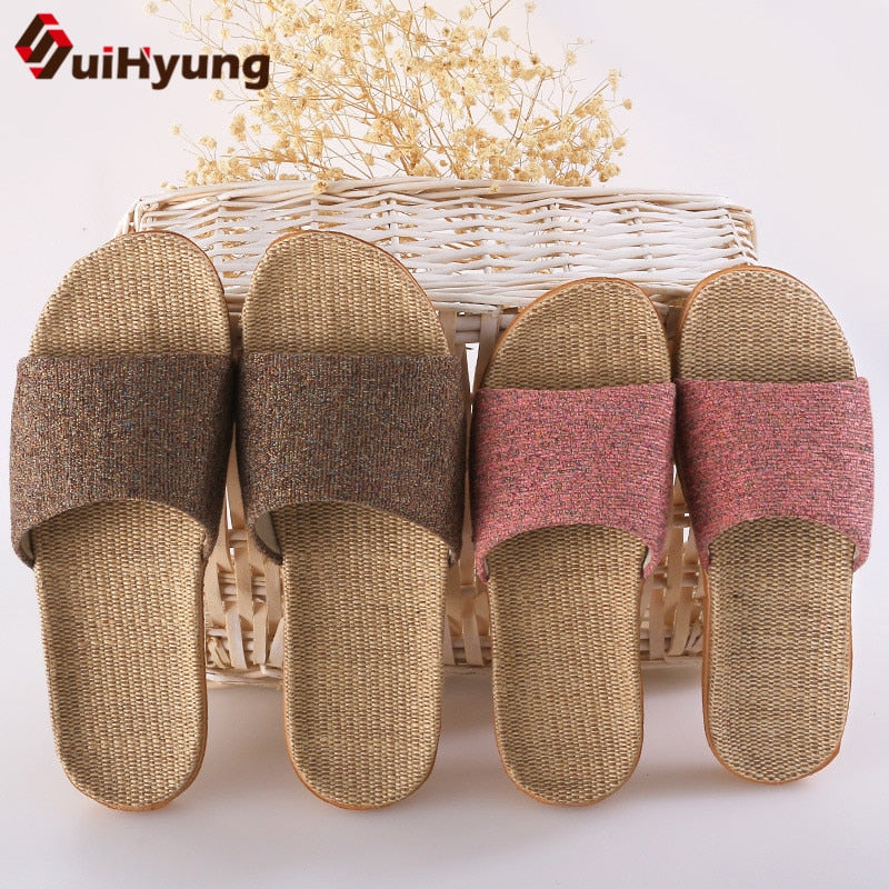 Suihyung Summer Flax Slippers Mixed Colors Casual Indoor Floor Shoes Home Slipper Lovers Women Men Open Toe Slippers Flat Shoes