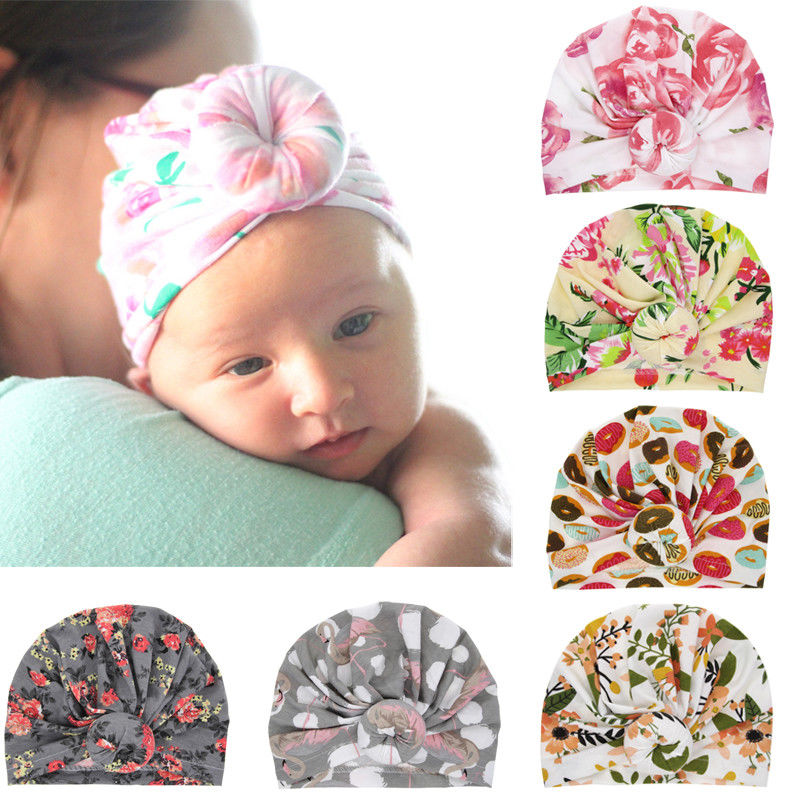 Newborn Baby Infant Girl Toddler Comfy Floral Hospital Caps Warm Beanie Hat