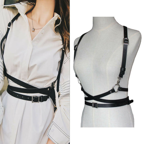 Leather Harness Chest Punk  Waist Belt Women Handmade Fashion NL