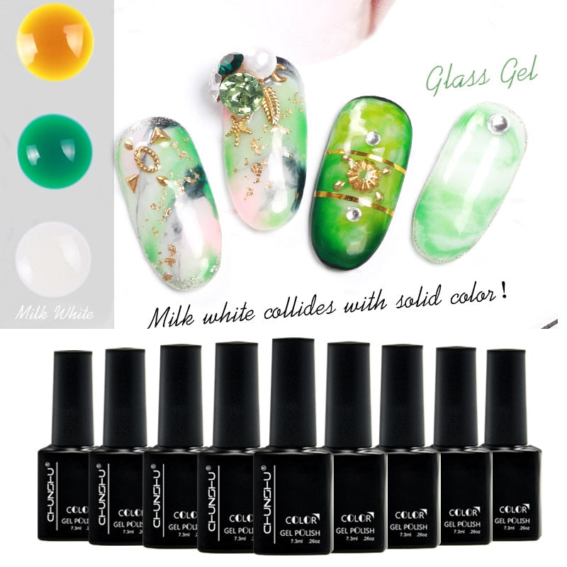 16Color Choose Clean Glass Amber Varnish Lacquer Translucent Colors UV Gel Polish Nail Art Design Painting Do Halo Dyeing Effect