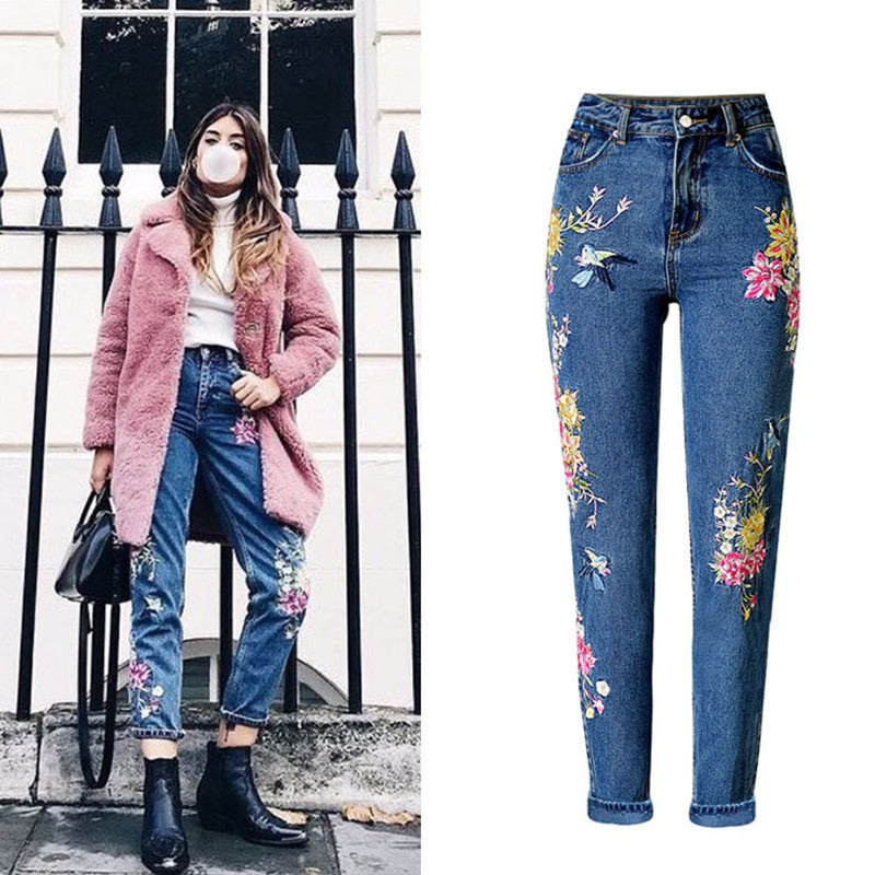 New With Tag Ladies Girls Women/'s Floral Embroidered Skinny Jeans Trouser