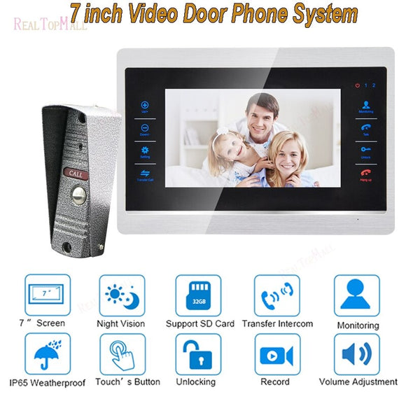 7 Inch Video Door Phone Monitor Intercom System Kit Doorbell Camera Night Vision 1200 TVL Recording SD Card Support 1 v 1