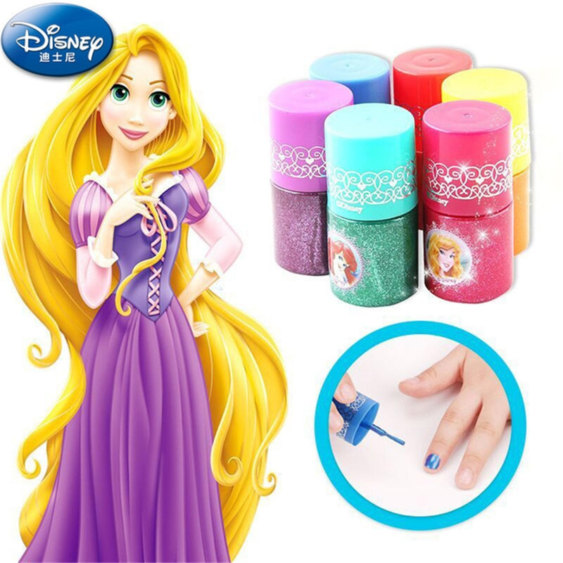 New Disney Water Soluble Fingerprint Kids Cosmetic Makeup Girl Show Toys For Children Gifts Nail Polish pretend play house