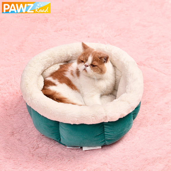 Pet Supplier Dog Cat Kennel Pet Round Shape Bed Warm Soft Kitten Puppy Cave House Leisure Stone Pattern For Pet 4 Colors Bed