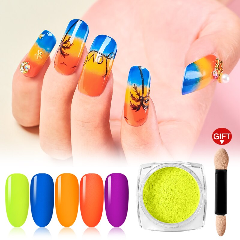 Mtssii Neon Pigment Fluorescence Effect Nail Glitter Fluorescent Color Powder Nail Polish Dust UV Gel Nail Neon Dust For Nails