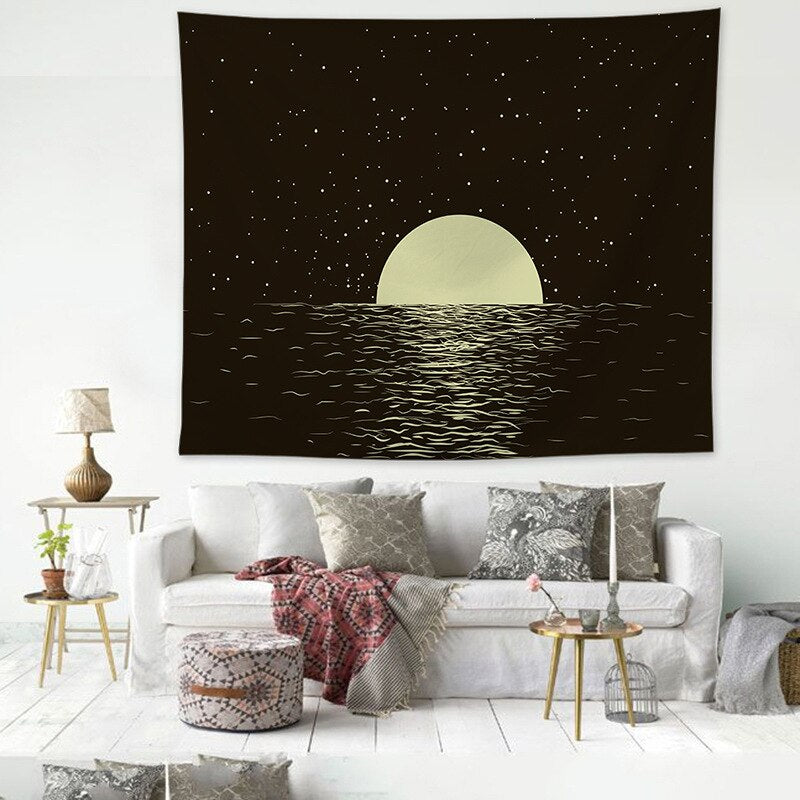 Galaxy Moon River Stars Milky Way Tapestry Hanging Wall Indian Hippie Retro Home Decor Yoga Beach Towel Decro
