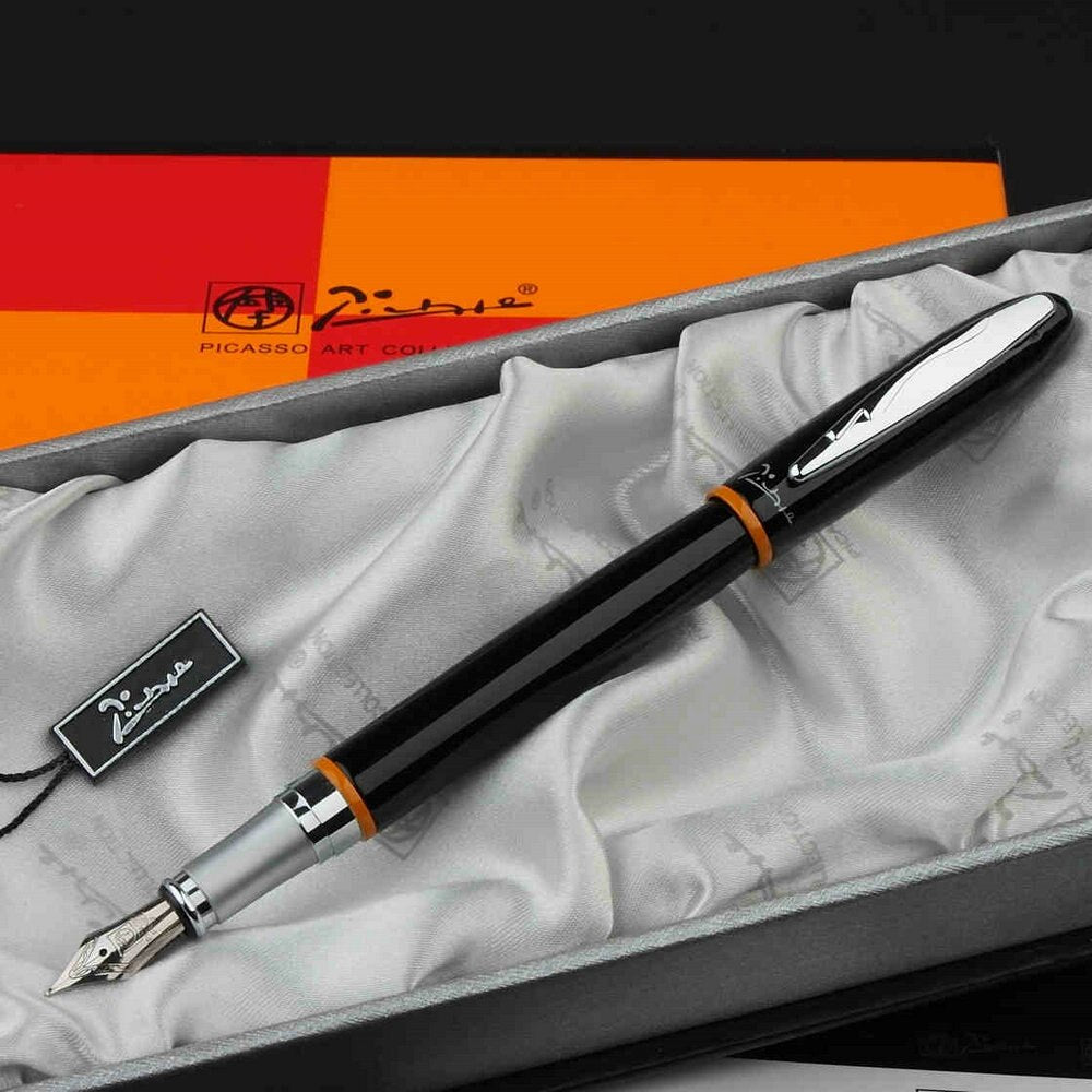Picasso 907 black and silver iridium 0.5mm point pen ink Fountain Pen Montmartre Yellow Ring B Nib Fountain Pens High Quality