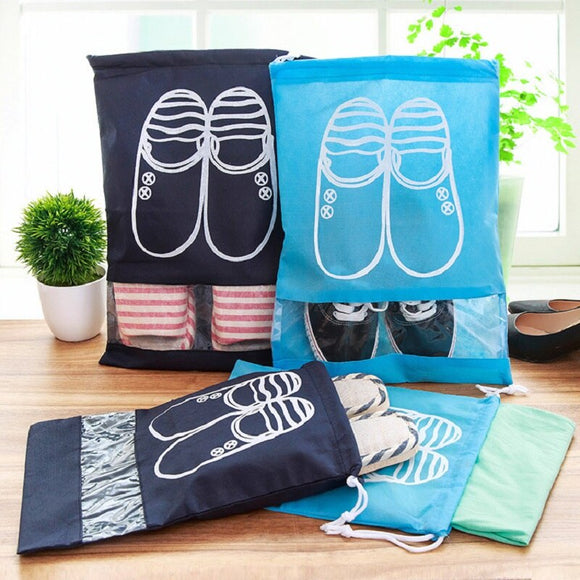 Waterproof Shoes Bag Pouch Storage Travel Bag Portable Tote Drawstring Bag Organizer Cover Non-Woven Laundry GHMY