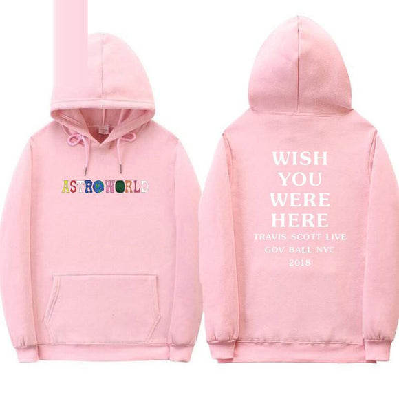 Brand Astroworld WISH You are here hoodie Travis Scott GOV BALL NYC 2019 letter hoodie street men's and women's pullover sweatsh