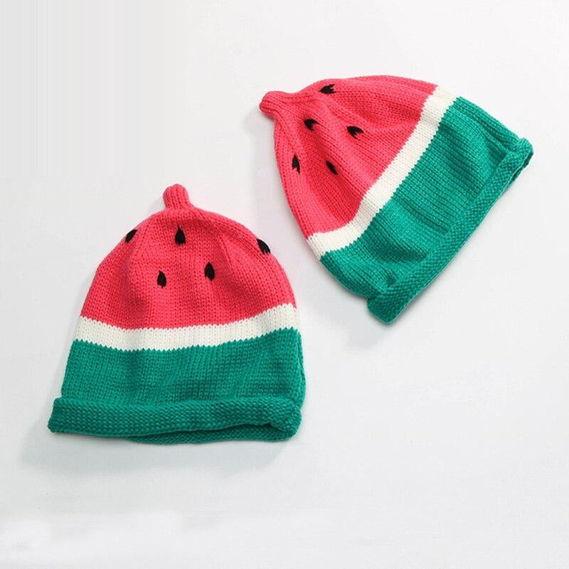 Child Beanies Caps Autumn And Winter Children Watermelon Cap Wild Cute Curling Men And Women Baby Hats Hand Knitting Hat 2colors