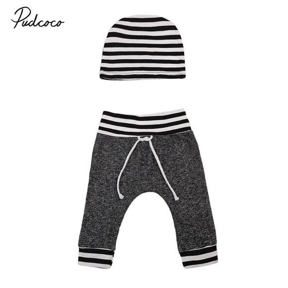 2017 New Brand Newborn Toddler Infant Baby Boys Girls Pants Striped Printed Bottom Casual Pants Hat 2Pcs