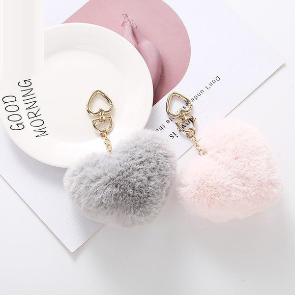 2019 Simple key Ring Hair Ball Fluffy Pom-pom Artificial Rabbit Fur Animal key Chain Women Car Bag key Bag DIY Jewelry Pendant