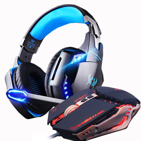 Gaming Headset and Gaming Mouse 4000 DPI Adjustable Stereo Gamer Headphones Earphone + Gamer Mice LED Light Wired USB for PC