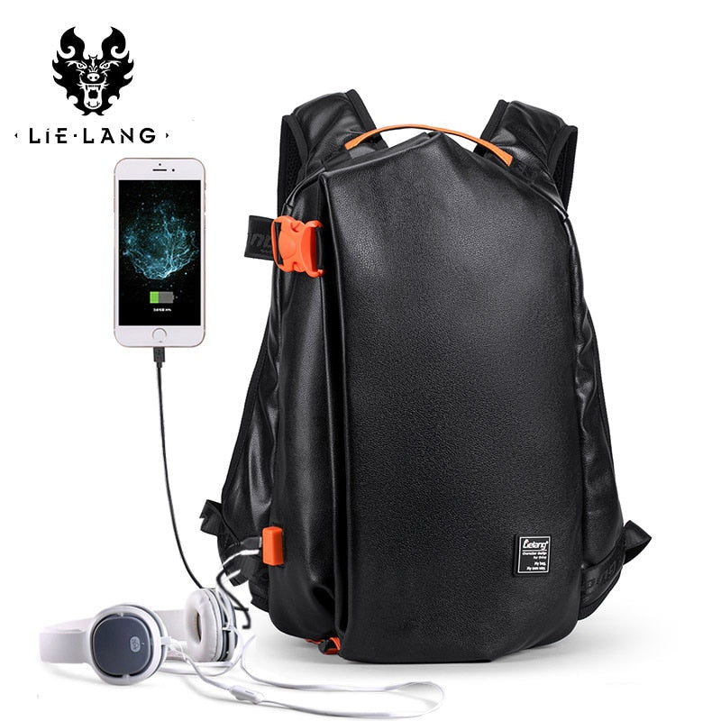 LIELANG Backpack Men's Fashion Leather Trend Youth Leisure Travel Backpack Men's Simple College Student Computer Bag Backpack