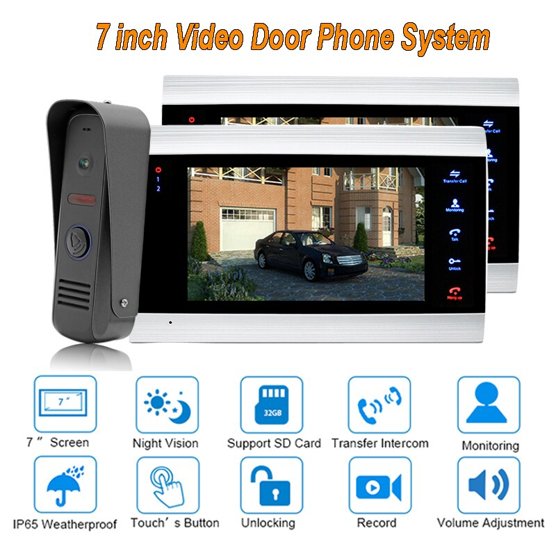 "New Doorbell Video Door  Intercom System  7"" TFT  1200TVL Home Security with IP 65 Rainproof 1 camera 2 monitors"