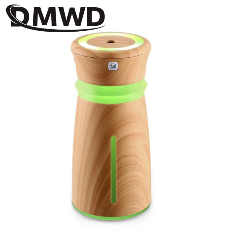 DMWD Mini USB Ultrasonic Humidifier Mist Maker Air Purifier Fogger Aroma Essential Oil Diffuser Wood Grain 7 Colorful LED Lights