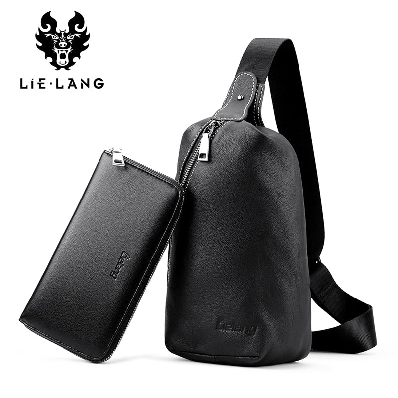 LIELANG Men's bag cheat bag Leather Chest Pack Messenger bag With Wallets Set Shoulder Bags For Men Crossbody Bag