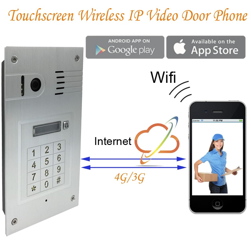 Remote monitor Wifi video door phone doorbell Wireless ip HD camera Intercom System embedded wall